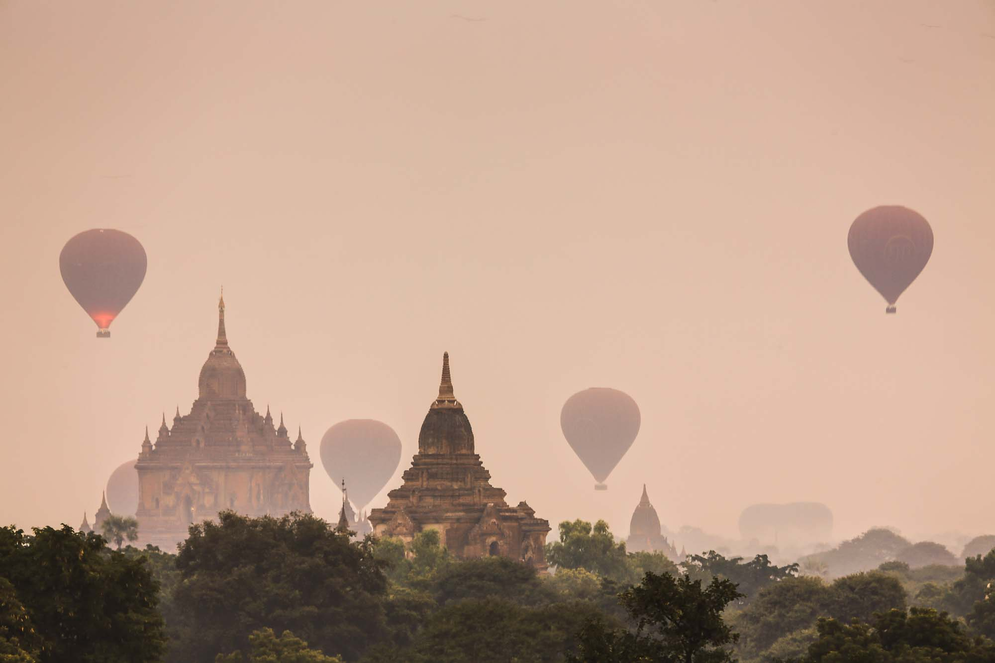 Balloons taking off in the misty morning - Myanmar_2014_JusMedic