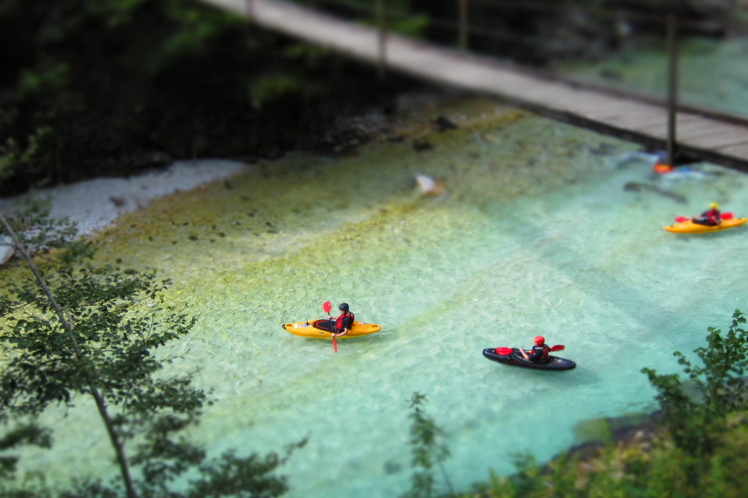 <p>Kayaks on Soča river, Slovenia</p>