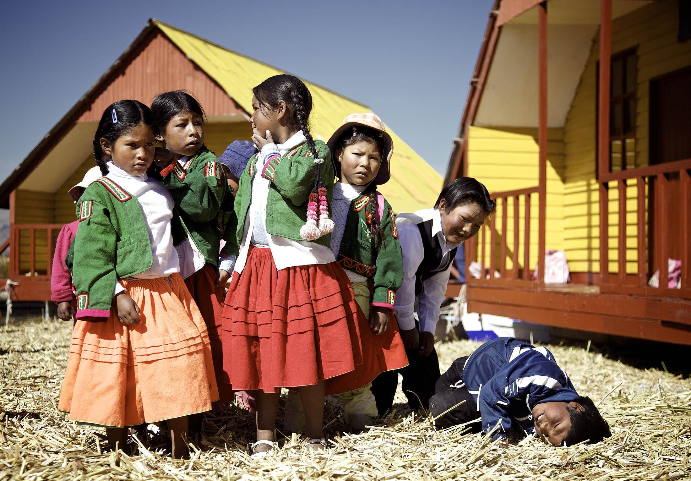 Floating school on Uros Islands, Titicaca, Peru